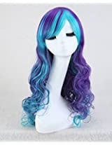 """Cool2day 32"""" Flower Girls Curly Heat Resistant Hair Cosplay Party Wig Purple Mixed Sky Blue"""