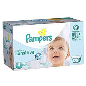 Pampers Swaddlers Sensitive Diapers Size 4 Economy Pack Plus 128 Count (One Month Supply)