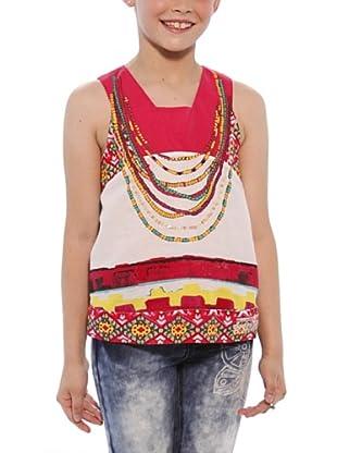 Desigual Camiseta Indiana (Fresa / Blanco)
