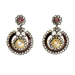 Daamak Jewellery Victorian Style Earring-Brown