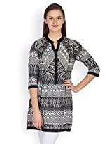 Ayaany Black & White Printed Tunic - ARY832_2XL