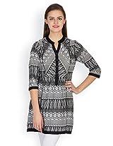 Ayaany Black & White Printed Tunic - ARY832_M