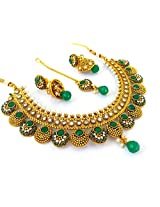 Megh Craft Women's Bollywood Style One Gram Gold Plated Necklace Set