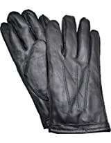 Isotoner Mens Genuine Leathers Smartouch Screen Lined Gloves (Black Large)