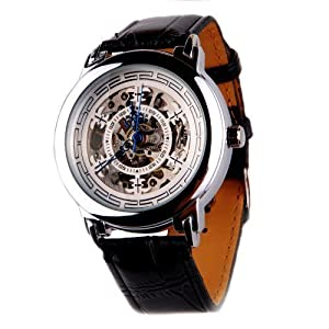Mens Automatic Mechanical Skeleton Watch Black Leather Strap Hand Wind Up AMW-05