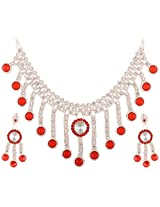 Lucky Jewellery Rose Red Alloy Chain Patwa Set for Women (660-ISP-415-RED)