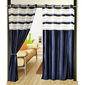 Home Candy Blue Polyester door curtains