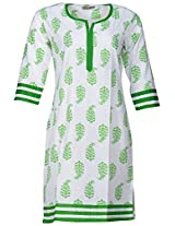 Bunkaari India Women's Cotton Regular Fit Kurti (00LK 31_36, Green, 36)