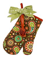 Brownlow Kitchen Oven Mitt Kit with Scripture, Chocolate Paisley, Multicolor
