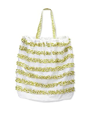 India Rose Canggu Laundry Bag, White/Lime, 24