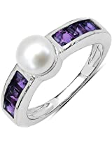2.13CTW Genuine Amethyst & Pearl .925 Sterling Silver Solitaire Ring