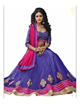 DesiButik's Wedding Wear Elegant Purple Net Lehenga
