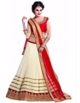 Clickedia Women Net Off White & Red beautiful Full Kali Gheraa lehenga With Dupatta and Embroidered Black Blouse piece