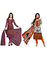 Rajnandini Combo of cotton Printed Unstitched salwar suit Dress Material (Orange & Black _Free Size)