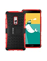OnePlus Two Protective Back Cover / Case : Cool Mango Premium Dual Layer Armor Protection Case / Cover with Kick-stand for OnePlus 2 - Red