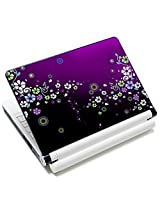 Meffort Inc 15 15.6 inch Laptop Skin Sticker Cover Art Decal Fits 13.3 14 15 16 Notebook PC (Free 2 Wrist Pad) - Purple Flower Design