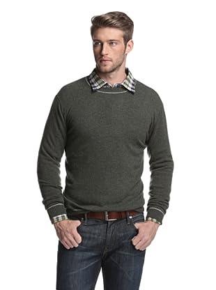 Kokun Men's Tipped Crewneck Sweater (Moss/Dark Grey)