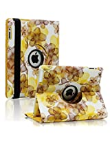 SAVEICON (TM) Leopard Rose Flower Map Pattern 360 Degrees Swivel Rotating PU Leather Case Smart Cover with Stand and Sleep/Wake Function for Apple iPad 4 with Retina Display, iPad 3, iPad 2 (iPad 4/iPad 3/iPad 2, Pattern C)