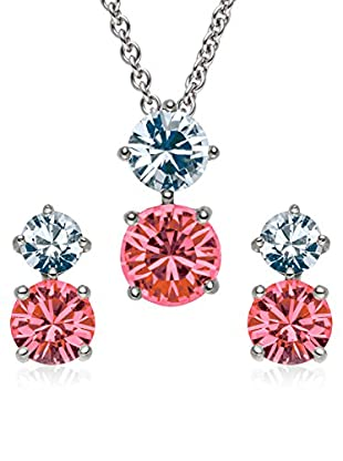 Saint Francis Crystals Set, 3-teilig Kette und Ohrstecker Made With Swarovski® Elements silberfarben/rot/hellblau