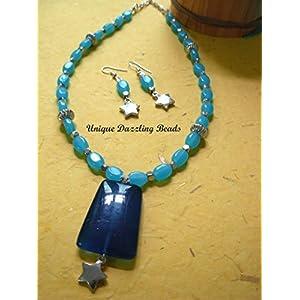 Unique Dazzling Beads Vivid Blue Necklace