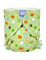 Baby Basic Diaper Single | Green Squares Size , Infant