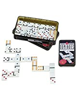 Dominoes Premium Set Of 28 Double Six Color Dot Dominoes Set With Metal Tin Case - For Family, Fun, Kids, Adults
