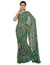 Rajasthani Bandhani Bandhej Green Color Moss Chunri