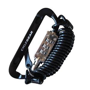 【クリックでお店のこの商品のページへ】SAGISAKA(サギサカ) CYCLE GEAR カラビナダイヤルロック 固定 コイル 120cm ブラック 84820
