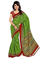 Cenizas Printed Art Silk Sari (3340 GREEN)