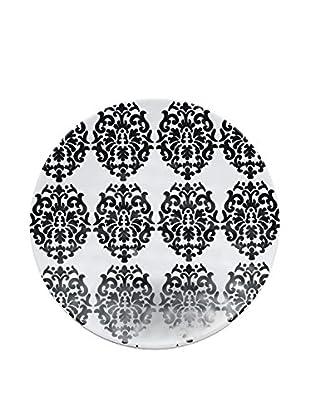 Q Squared NYC Victorian Lite Melamine Salad Plate, Black/White