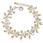 Full Rhinestone Golden Snowflake Adjustable Flower Charm Bracelet