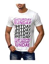 Londonhouze Men's Round Neck T-Shirt (LHW3D011XL_White_X-Large)