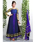 Georgette Embroidered Blue Semi Stitched Long Anarkali Suit - 406