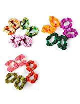 Accessher Cotton Beaded Hair ties Hair Band Multi Color Combo Pack of 18