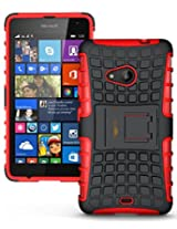 Heartly Flip Kick Stand Spider Hard Dual Rugged Armor Hybrid Bumper Back Case Cover For Microsoft Nokia Lumia 535 Dual Sim - Hot Red