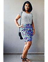 Madhurima Bhattacharjee Blue Printed Pencil Skirt