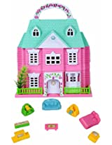 Doll House With Furniture - Pink