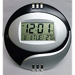 Round Digital LCD Table Desk Alarm Clock Wall Mount with Temperature Date Snooze Calendar (Colors May Vary)