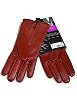 Isotoner All Over Sensortouch Leather Gloves (7.5, Really Red)