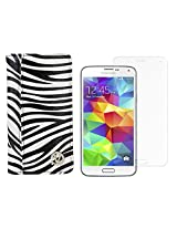 VanGoddy Mary Zebra Print Portfolio Self Stand Book Style Case Cover For Samsung Galaxy S5 G900 (White) + Tempered Glass Screen