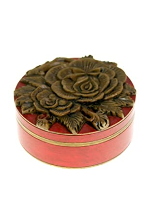 The Niger Bend Round Soapstone Box with Rose Design, Red