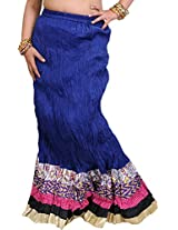 Exotic India Long Ghagra Crinkled Skirt from Jodhpur with Patch Border - Color Classic BlueGarment Size Free Size