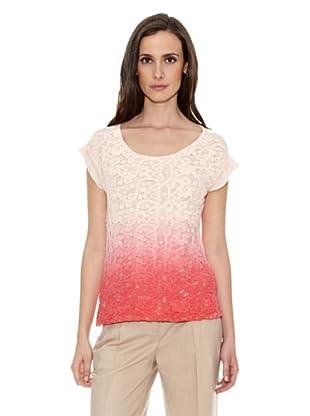 Cortefiel Camiseta Bordada Degradé (Rosa)