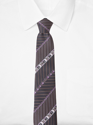 Emilio Pucci Men's Multi-Stripe Tie, Dark Grey/Purple