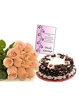 12 Orange Roses With Cake Card EF5757