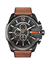 Diesel Mega Chief Black Dial Brown Leather Men's Quartz Watch -DZ4343