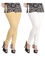 Lux Womens Churidar Cotton Leggings (Set Of 2) - L 10-18