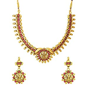 Exclusive Temple Design Inspired Necklace Set Embedded With Pink Color Stones