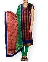 Unnati Silks Women Pure Handloom Chanderi Sico Red and Green salwar kameez dress material