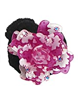 DollsofIndia White and Dark Pink Acrylic Flower Hair Band - Acrylic - Magenta